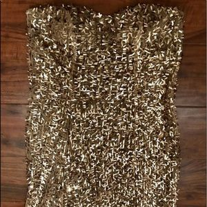 Gold sequence strapless mini dress